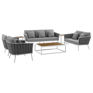 Stance 7 Piece Outdoor Patio Aluminum Sectional Sofa Set