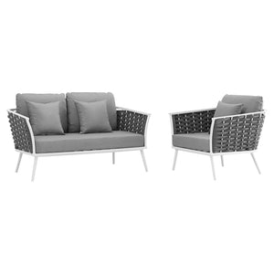 Stance 2 Piece Outdoor Patio Aluminum Sectional Sofa Set