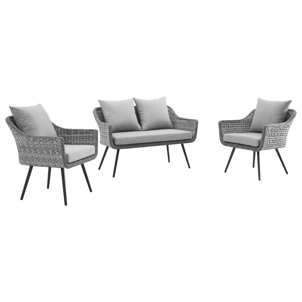 Endeavor 3 Piece Outdoor Patio Wicker Rattan Loveseat and Armchair Set