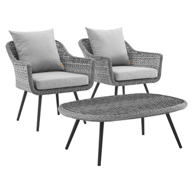 Endeavor 3 Piece Outdoor Patio Wicker Rattan Armchair and Coffee Table Set