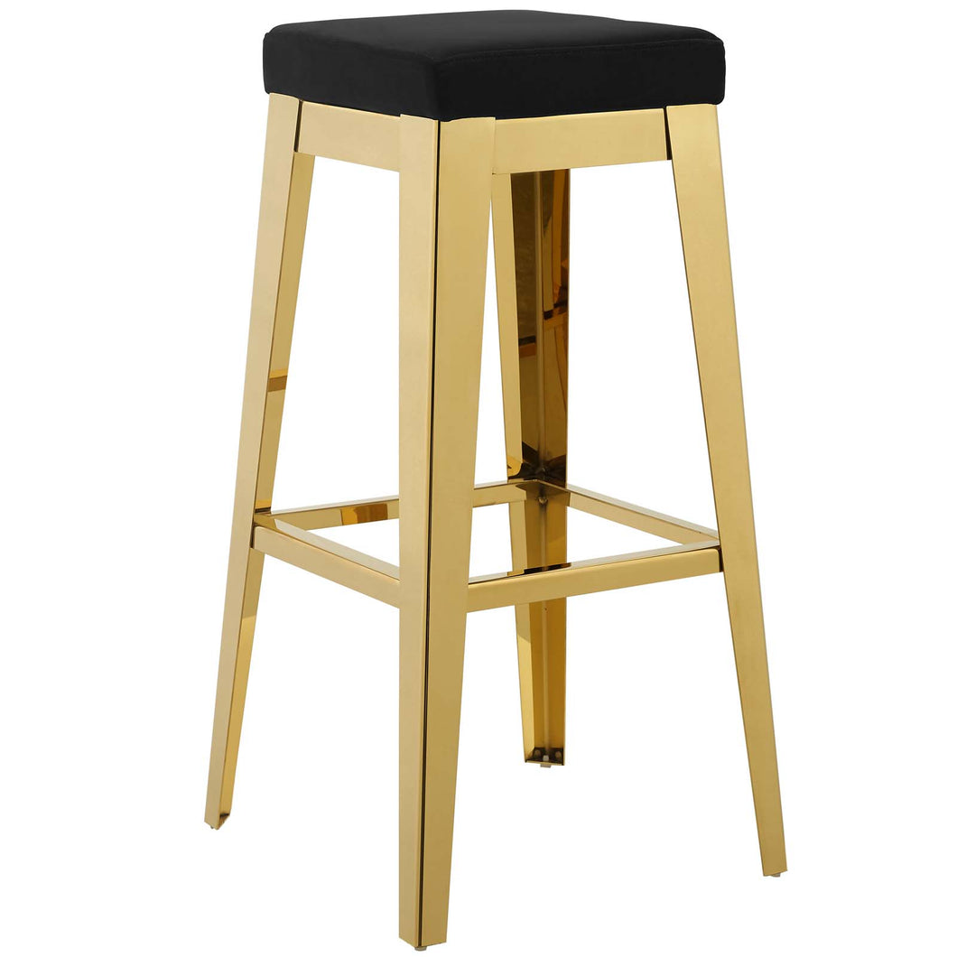 Arrive Gold Stainless Steel Performance Velvet Bar Stool