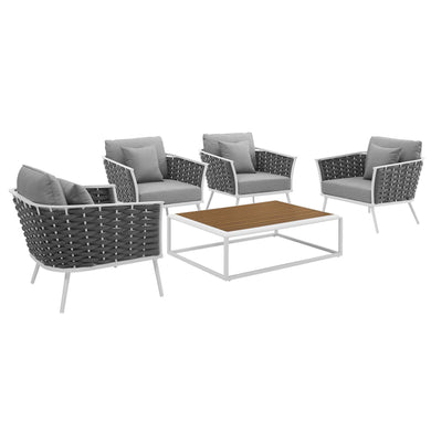 Stance 5 Piece Outdoor Patio Aluminum Sectional Sofa Set