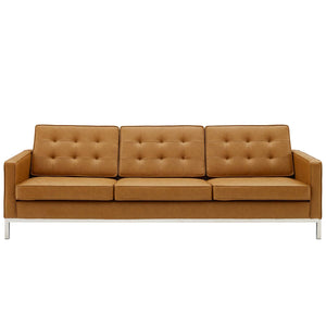 Loft Tufted Upholstered Faux Leather Sofa