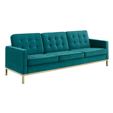 Load image into Gallery viewer, Loft Gold Stainless Steel Leg Performance Velvet Sofa