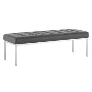 Loft Tufted Large Upholstered Faux Leather Bench