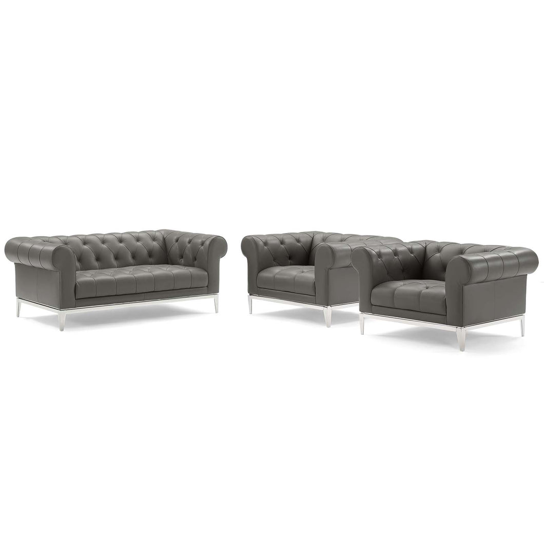 Idyll Tufted Upholstered Leather 3 Piece Set