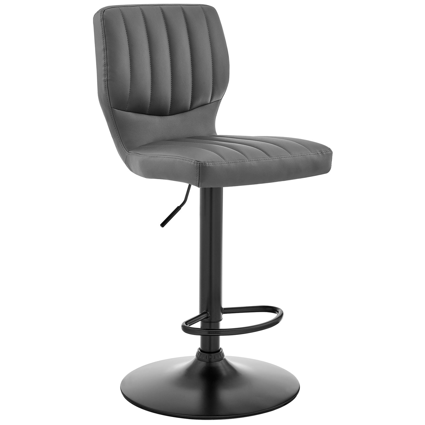 The Bardot Adjustable Gray Faux Leather Swivel Bar Stool