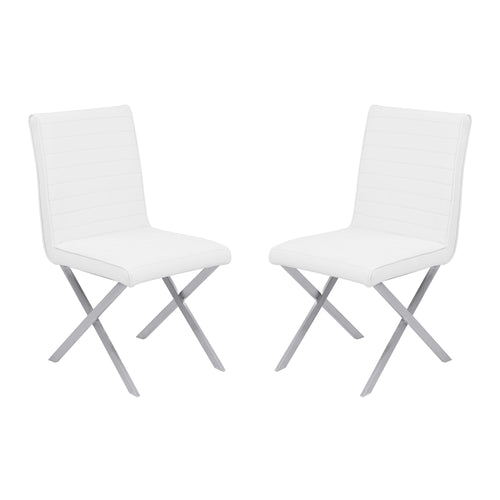 Armen Living Tempe Contemporary Dining Chair in White Faux Leather with Brushed Stainless Steel Finish - Set of 2
