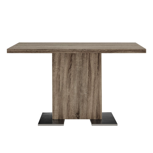 Armen Living Zenith Dining Table in Walnut Wood and Brushed Stainless Steel Finish