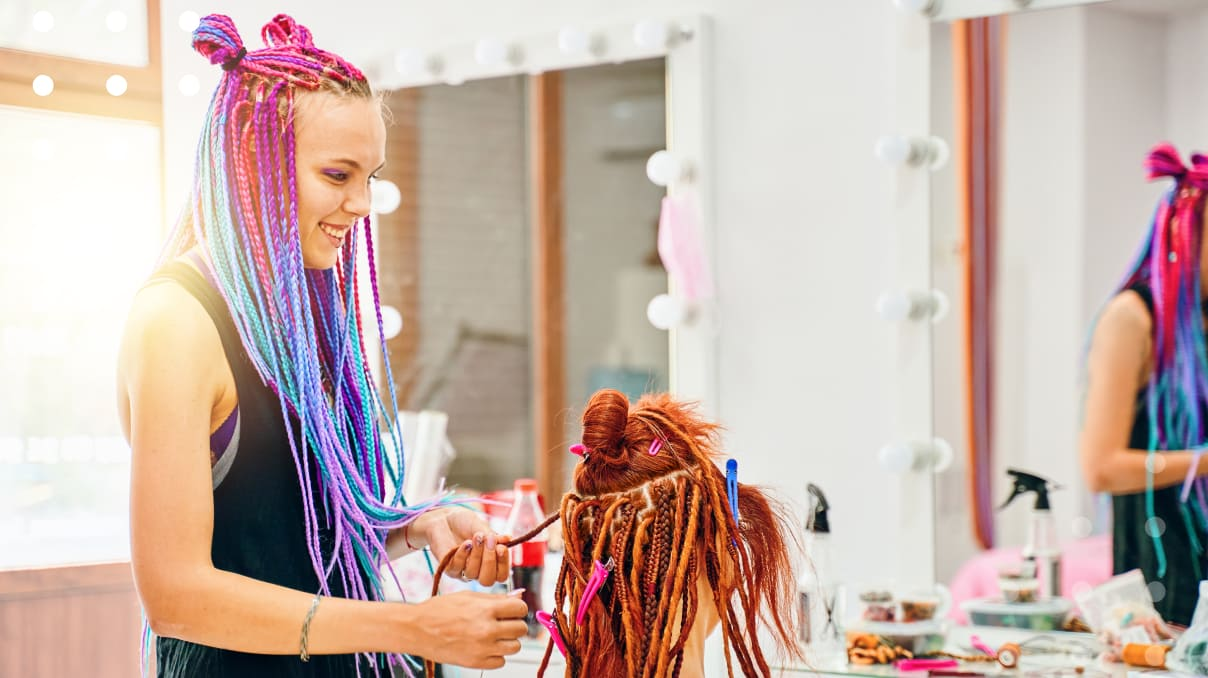 woman wearing a colored braid wig