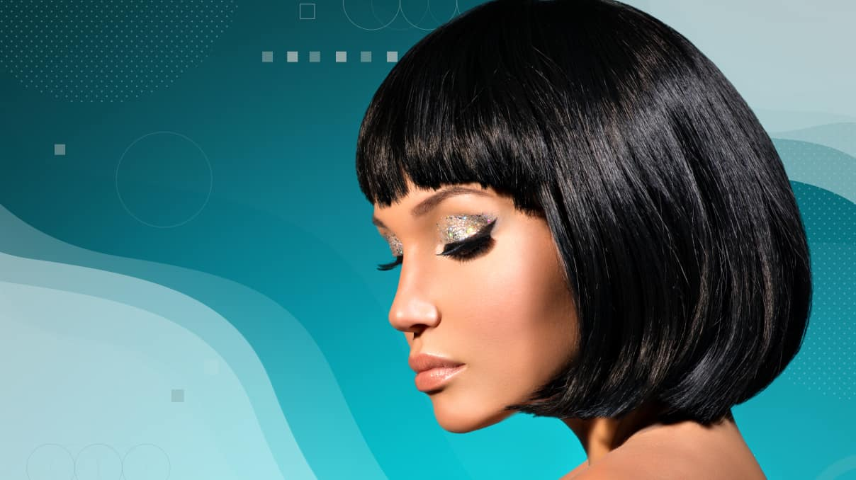 Holiday bob hairstyle with curled ends