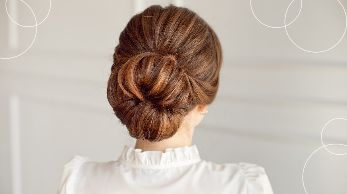 Bulky messy bun hairstyle with a donut