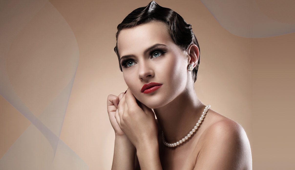 woman fixing here Vintage Hollywood wave hair