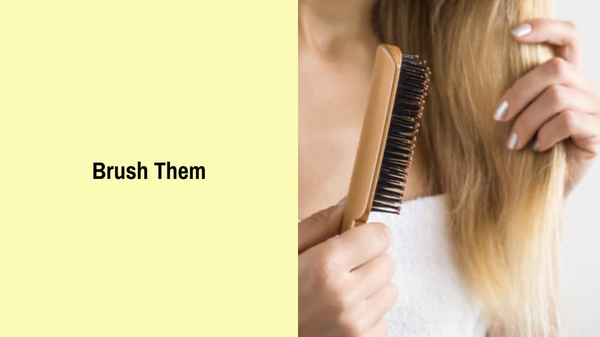 Brushing hair for school hairstyle