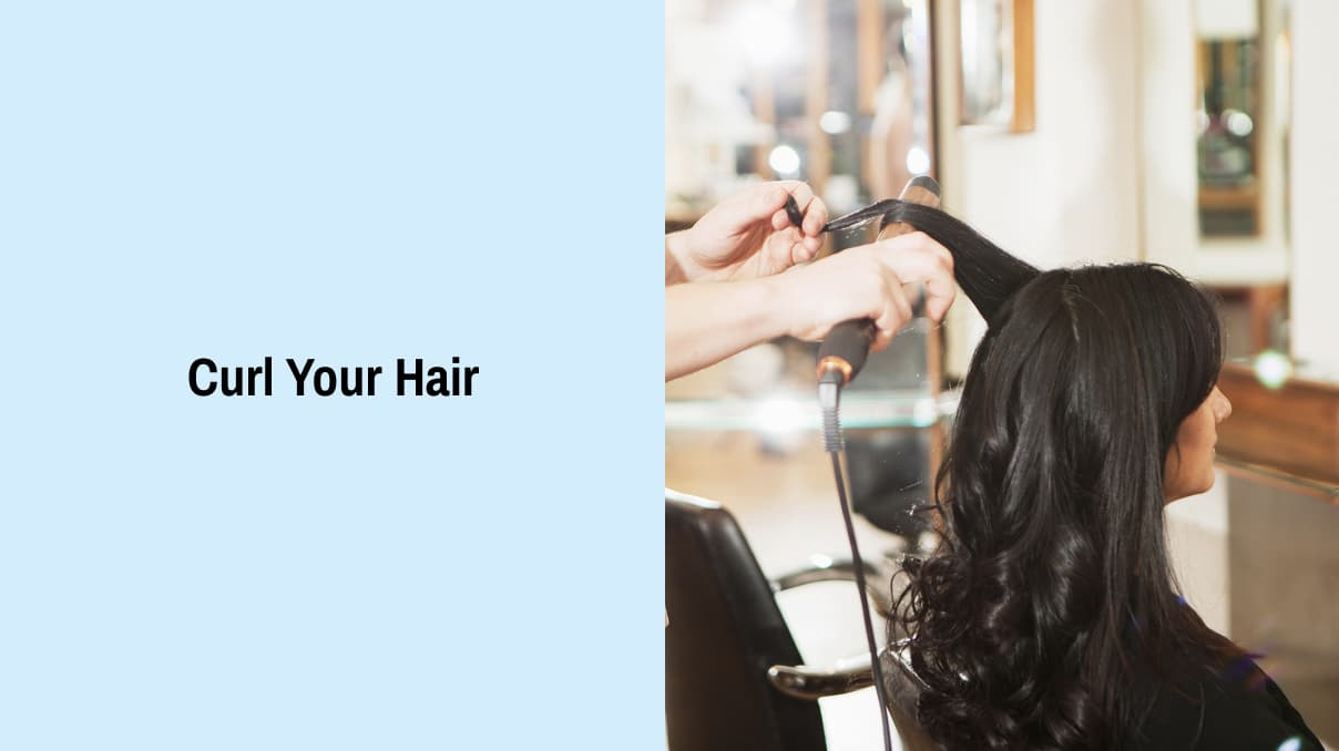 Curl your hair for a waterfall braid