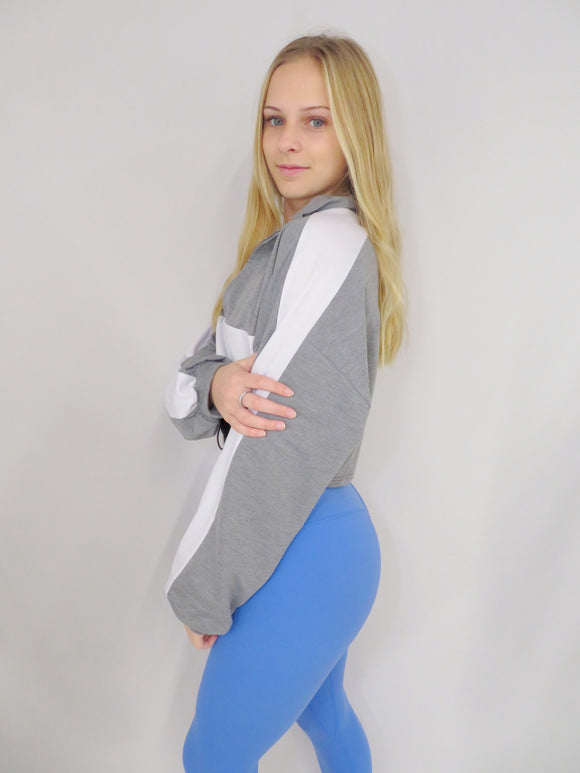 Tri Color Cropped Quarter Zip
