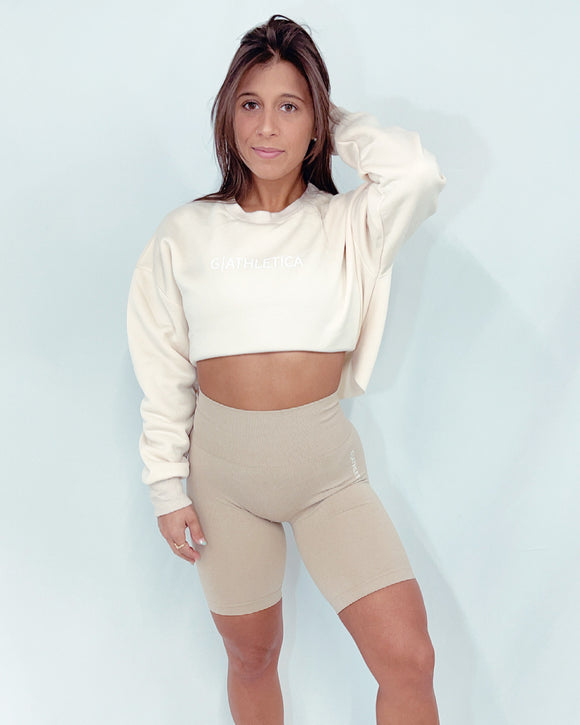 Cream cropped crew neck