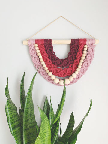 Semi Circle Macrame with Wooden Beads