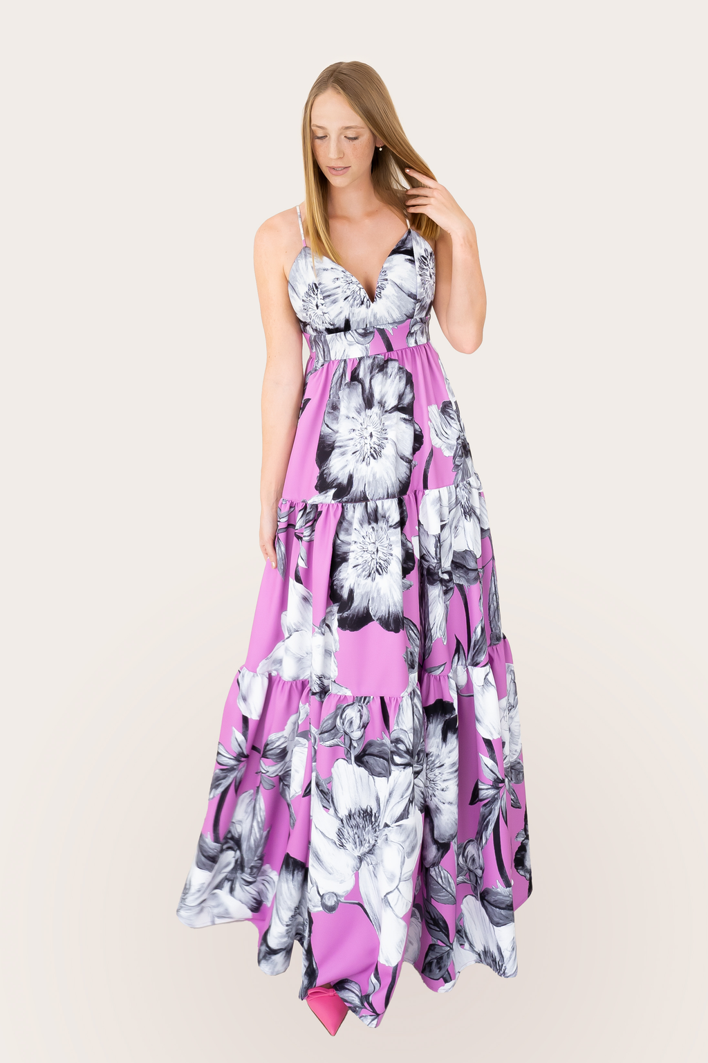 SS Floral Print Chateau Rose Dress - Long
