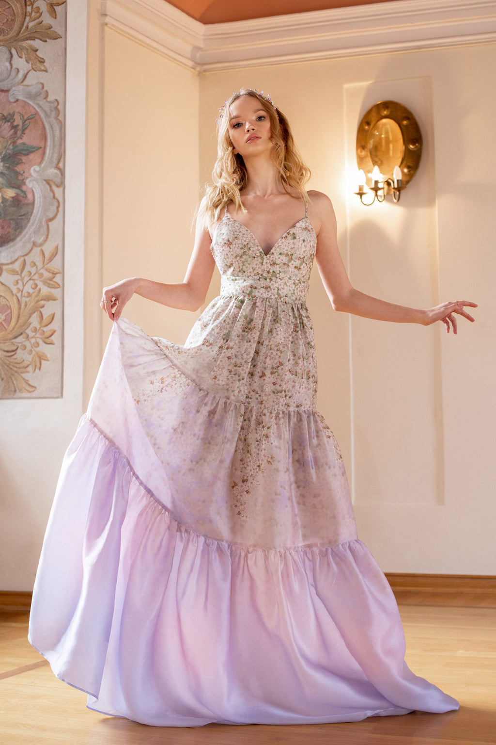 O Organza Gathered Gown - Lilac