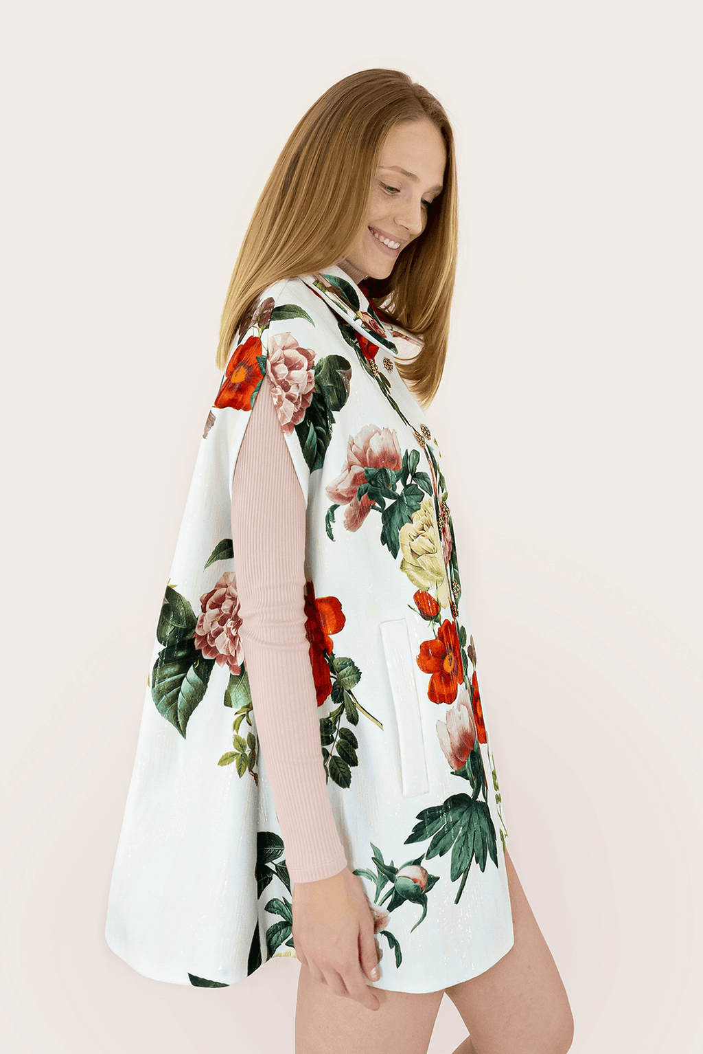 C Floral Sequin Cape - White_02