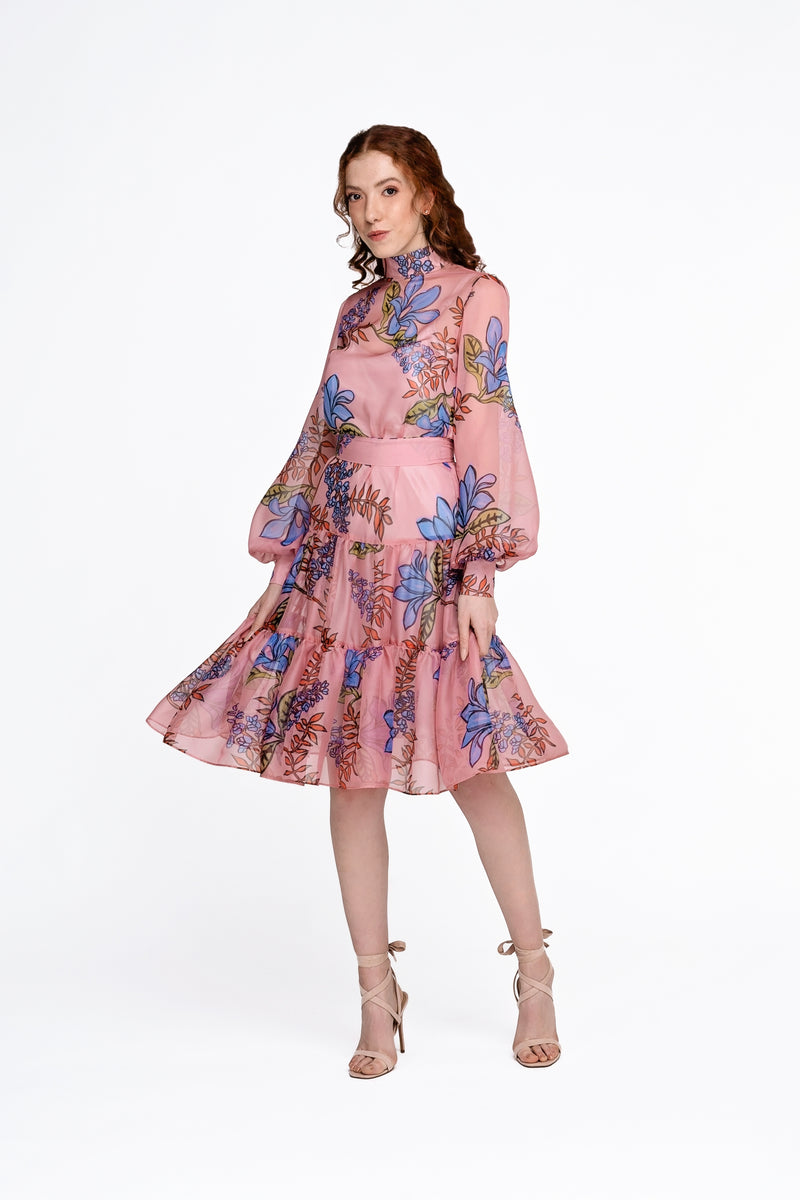 SS Floral Silk Dress - Short