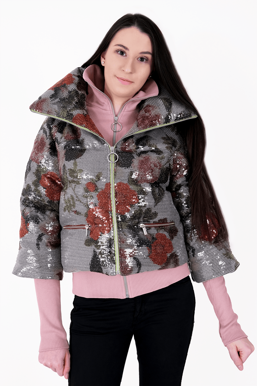 Puffer Jacket - Floral Sequin