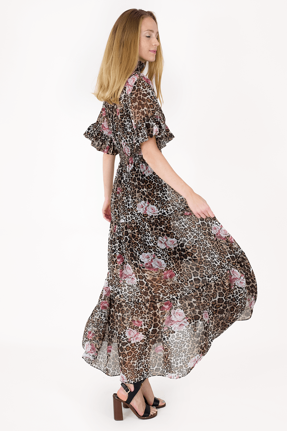 AW Animal Print Muslin Dress - Leopard - Elastic_02