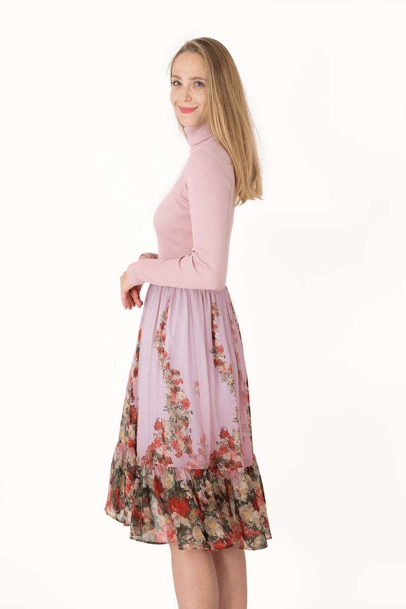 C Long Sleeved Turtleneck Voile Dress - Pink - Super Soft_03