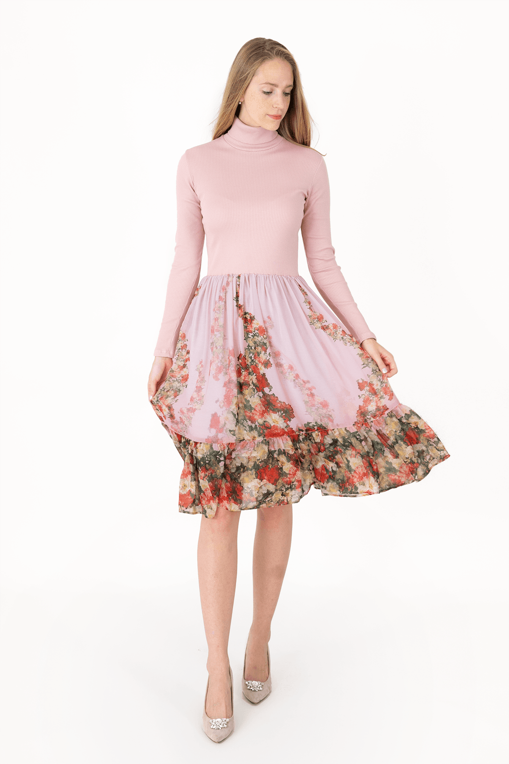 C Long Sleeved Turtleneck Voile Dress - Pink - Super Soft_02
