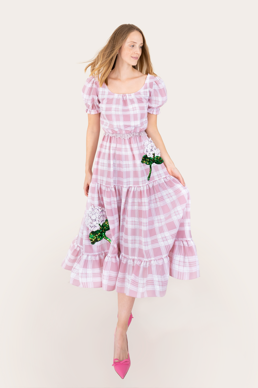 SS Checked Hydrangea Patch Dress - Long