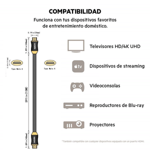 Premium High Speed HDMI® Cable - 4K 60Hz - HDR - BT.2020 - Cable Premium Certificado