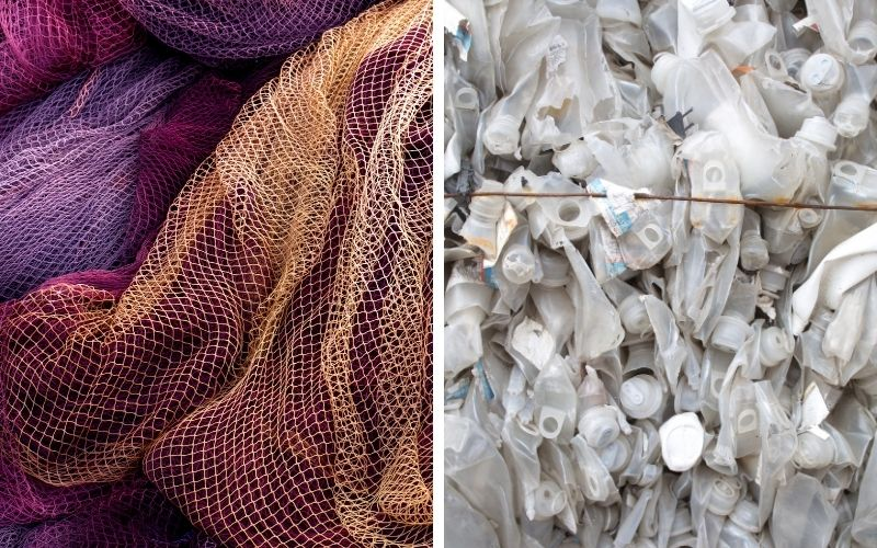 Fishing nets and plastic bottles