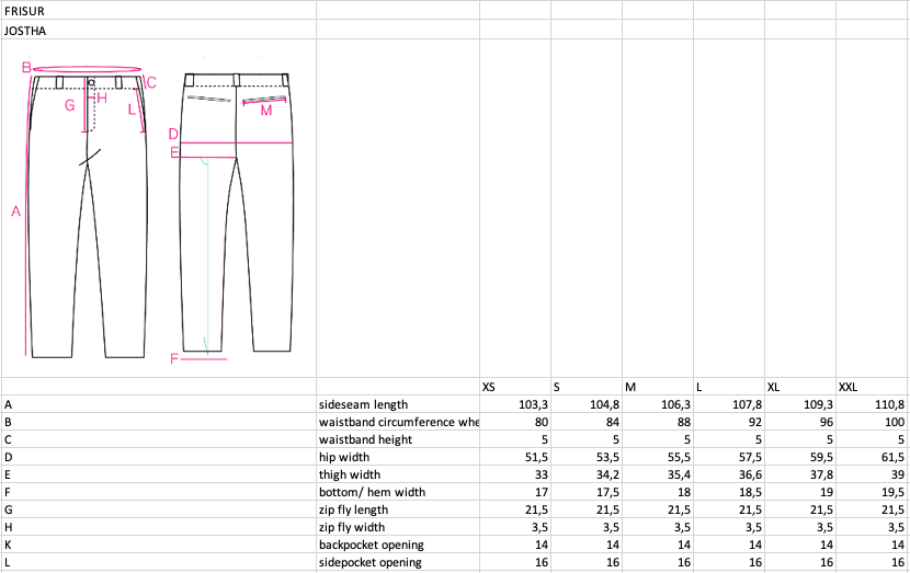 frisur--jostha-trousers--Size guide