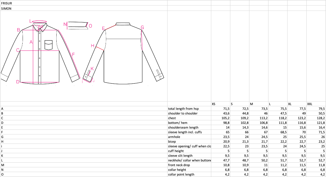 frisur--simon-shirt--Size guide