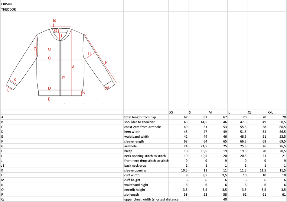 frisur--theodor-cardigan--Size guide