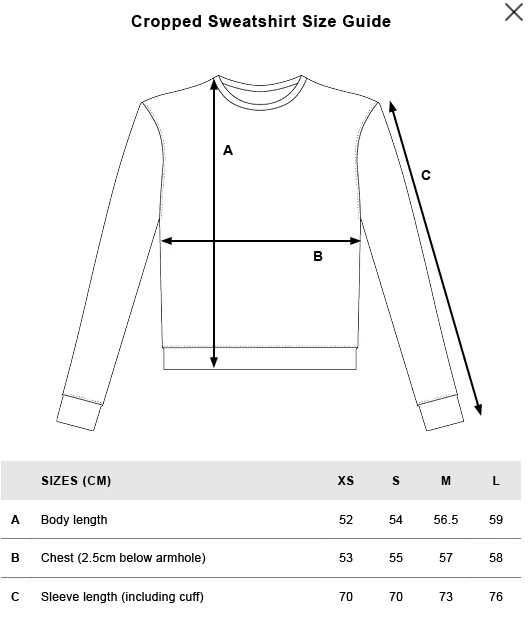 rotholz--rights-cropped-sweatshirt-black--Size guide