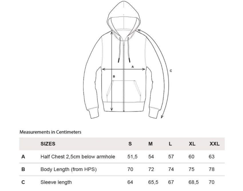 rotholz--rights-bio-zipper-hoodie-grey--Size guide