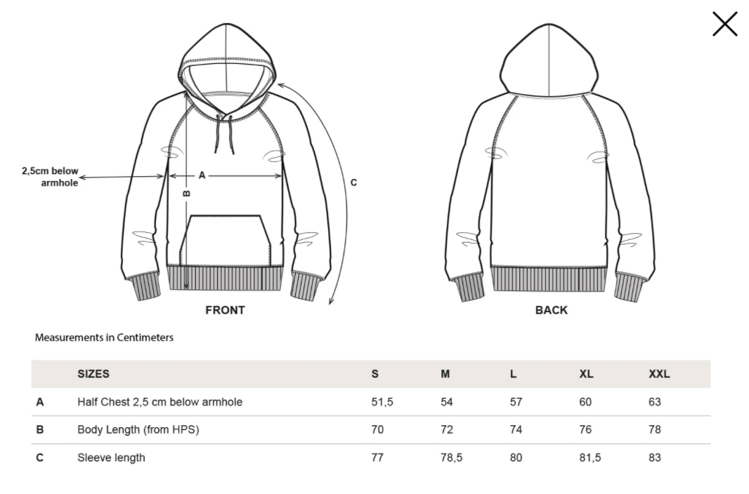 --smiley-hoodie-black--Size guide