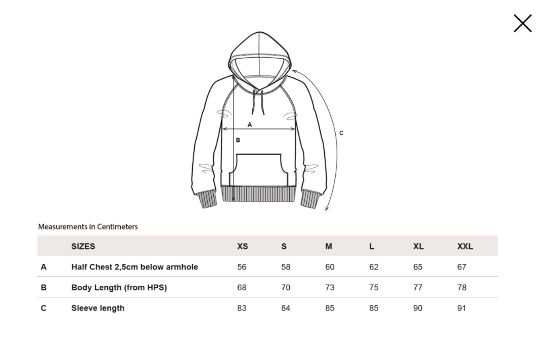 --spacing-organic-hoodie-green--Size guide
