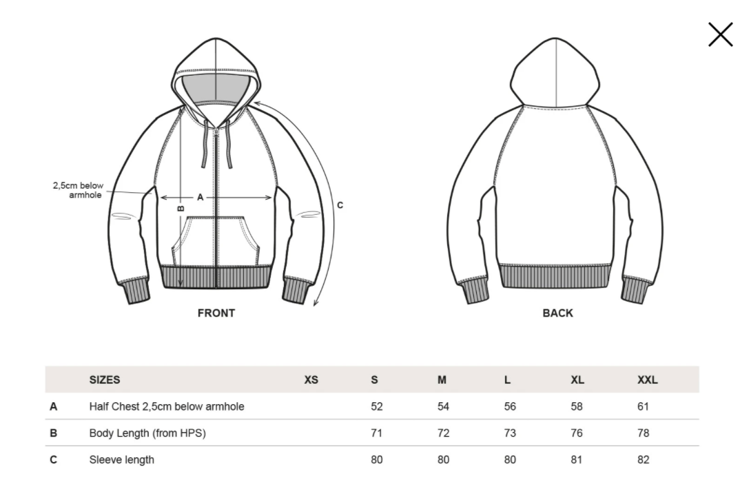 --rights-organic-zip-up-hoodie-black--Size guide