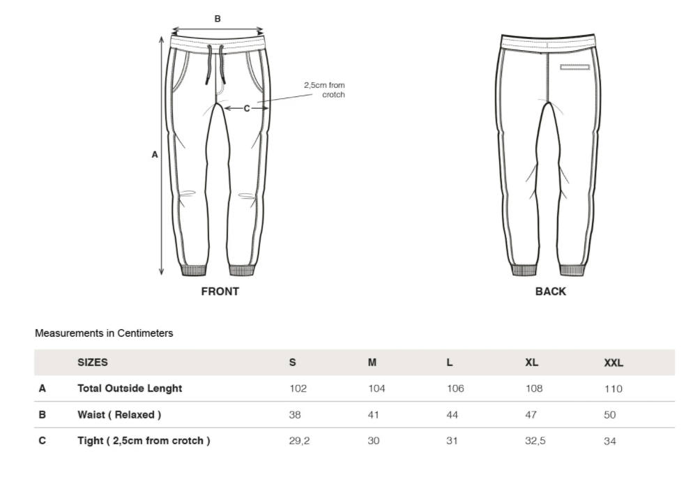 rotholz--rights-sweatpants-navy--Size guide