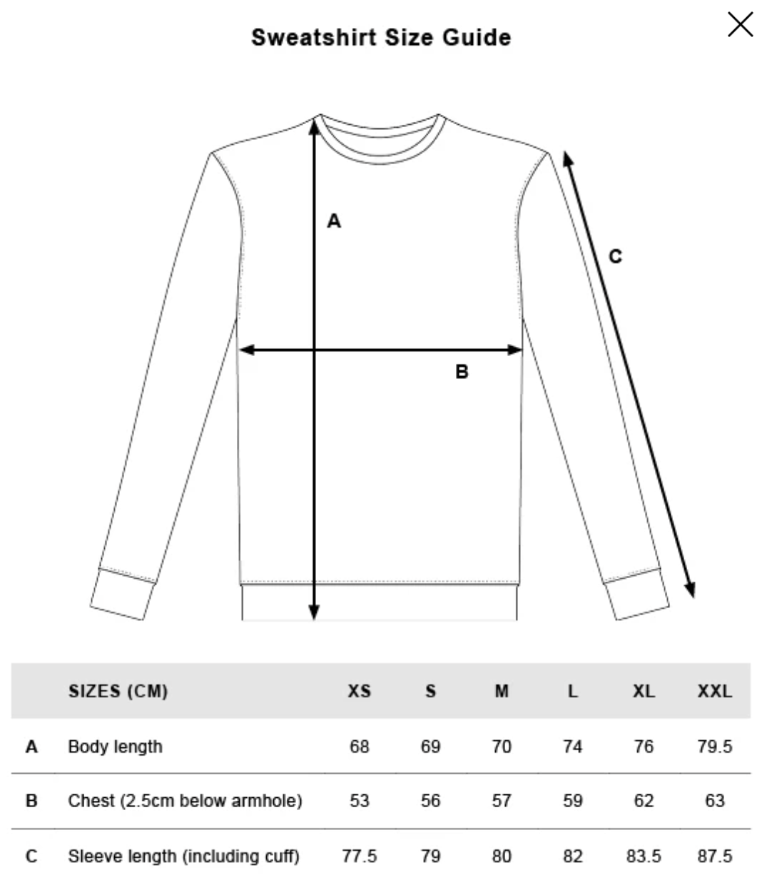 --rights-organic-sweatshirt-sand--Size guide