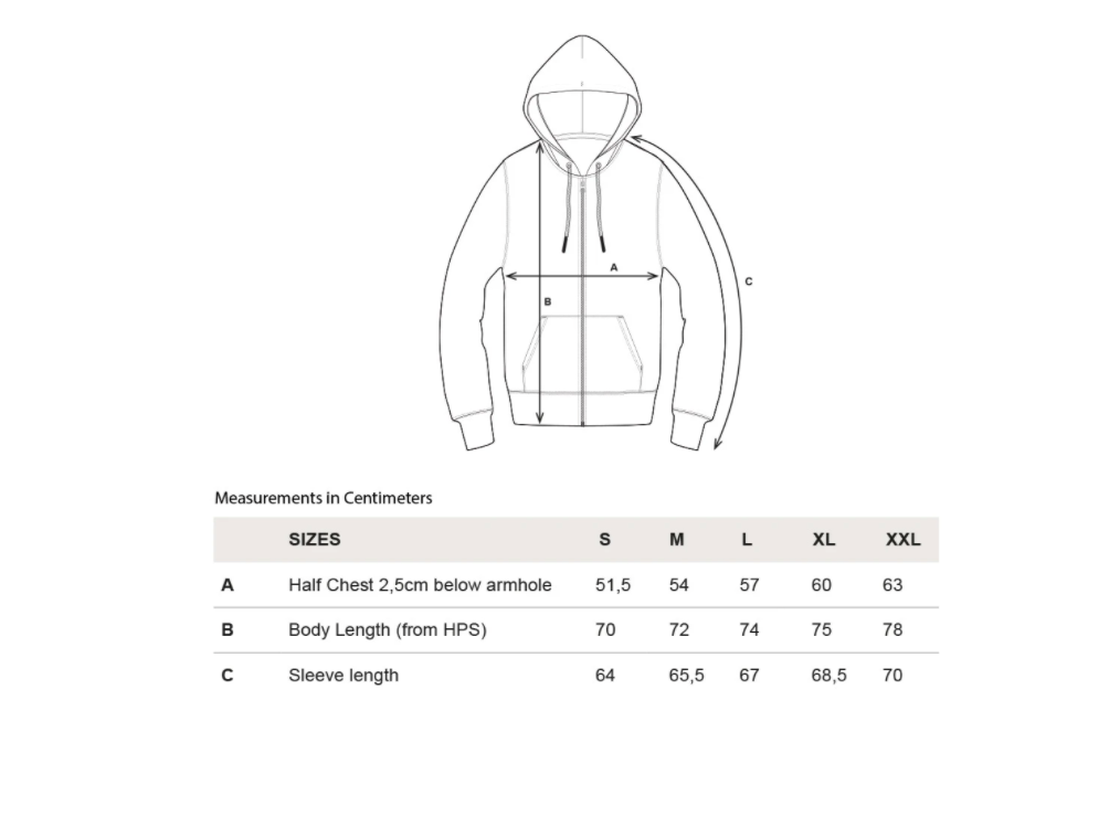 rotholz--rights-bio-zipper-ash--Size guide