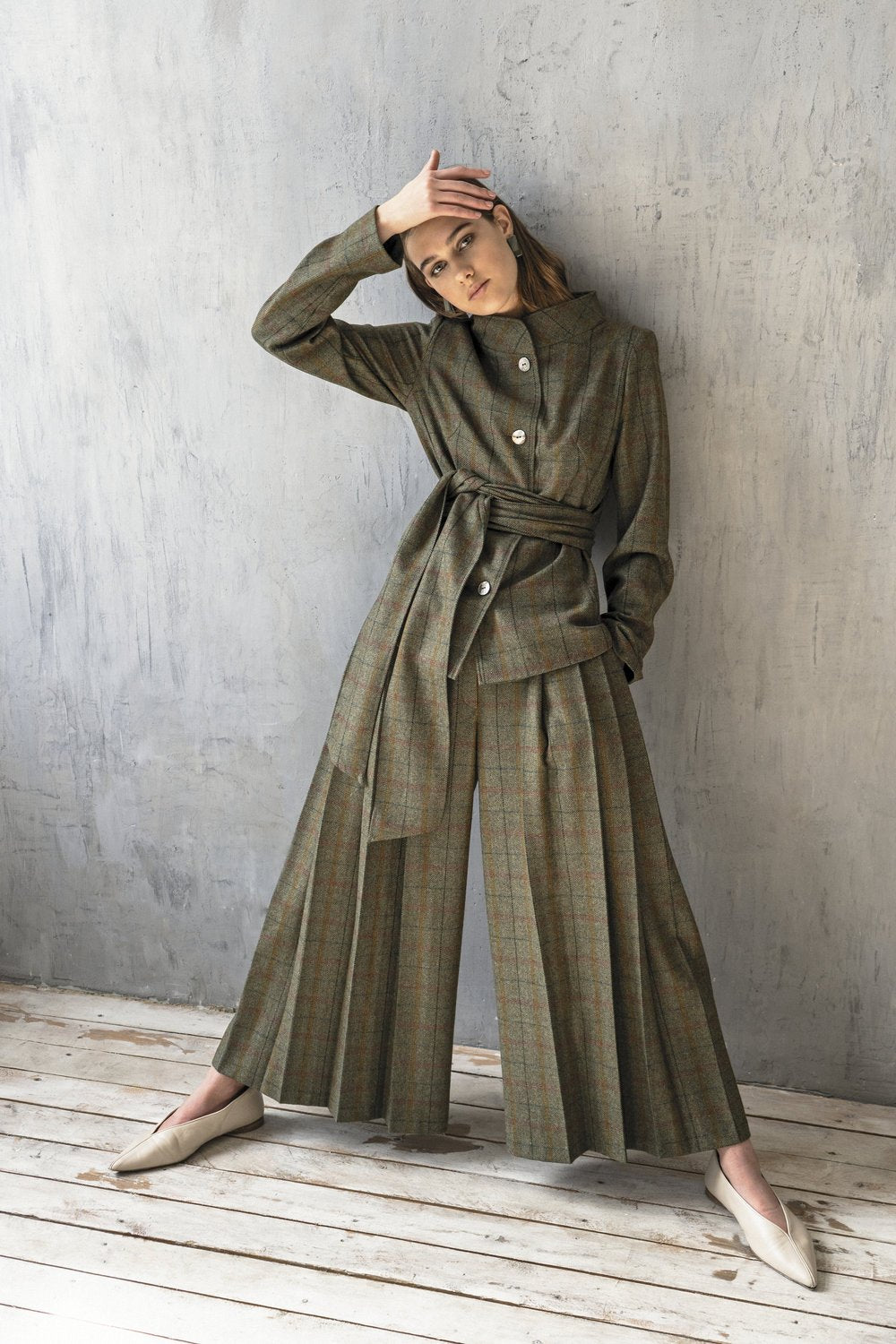 KM by Lange - Green plaid wool suit