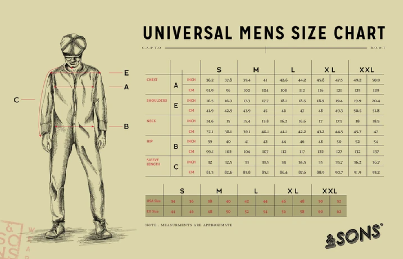 sons--sunday-shirt-tan-fade--Size guide