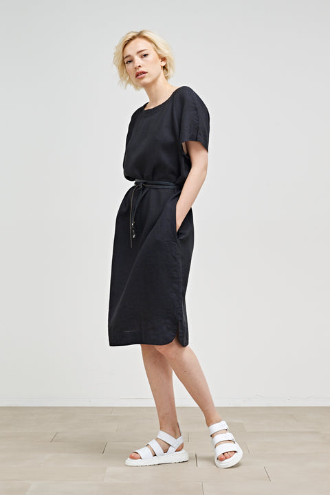 AVERY - WIDE LINEN DRESS WITH POCKETS