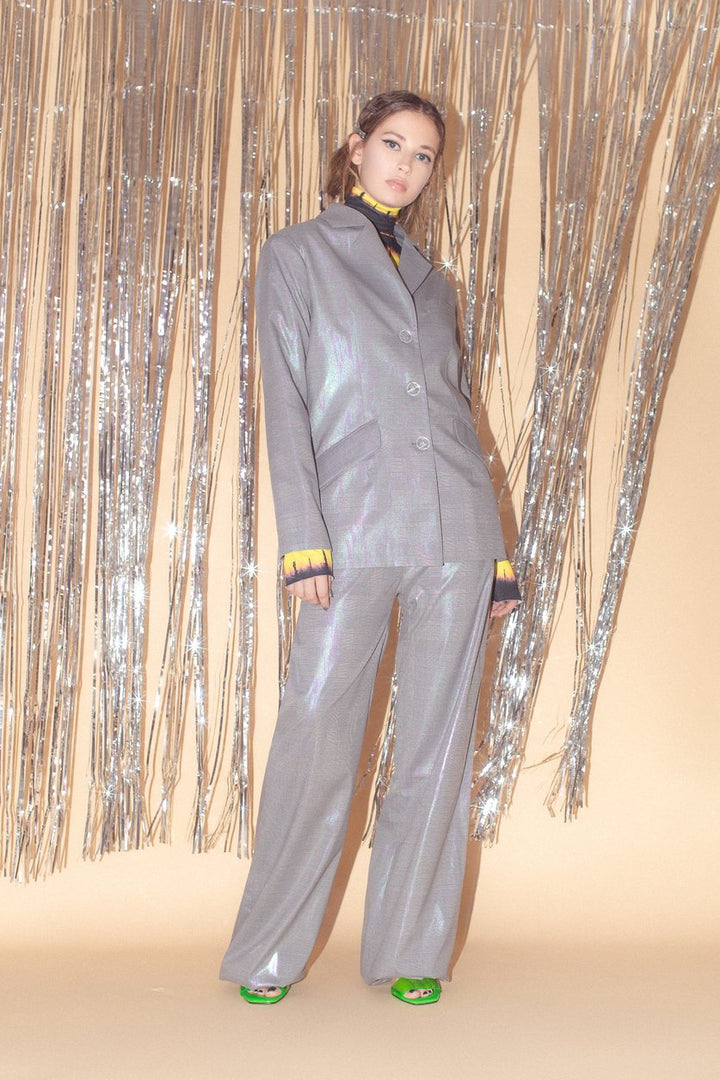 Carolina Machado - Rue Straight Leg Holographic Trousers