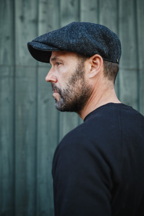 Thompson Baker Boy Hat- Black Herringbone