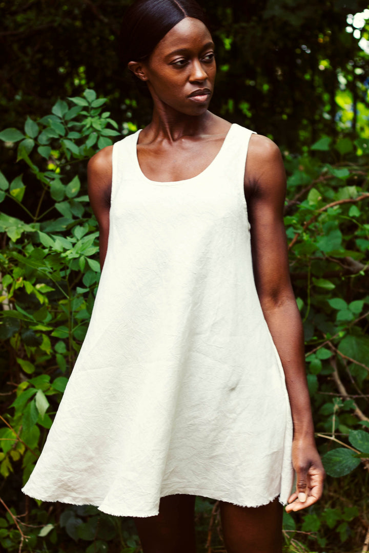 Lemuel MC - 100% Linen Summer Dress Off- White
